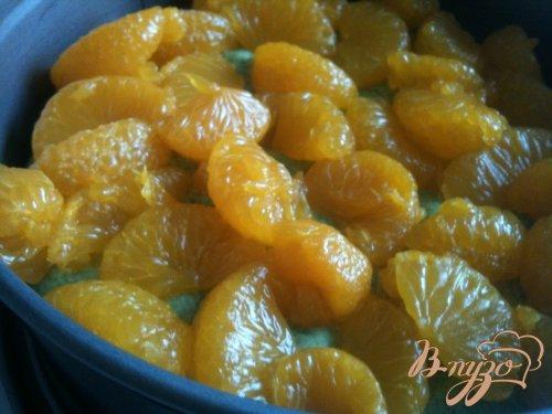 Шпинатный бисквит с мандаринами