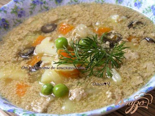 Суп с печенью минтая, мартини и маслинами