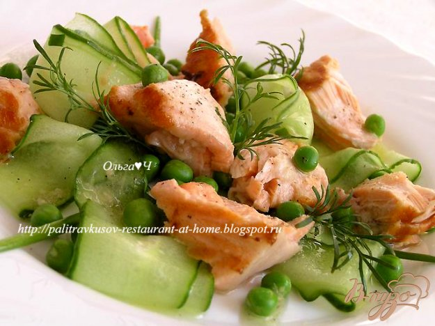 Рецепт Салат из лосося с лаймом и имбирем