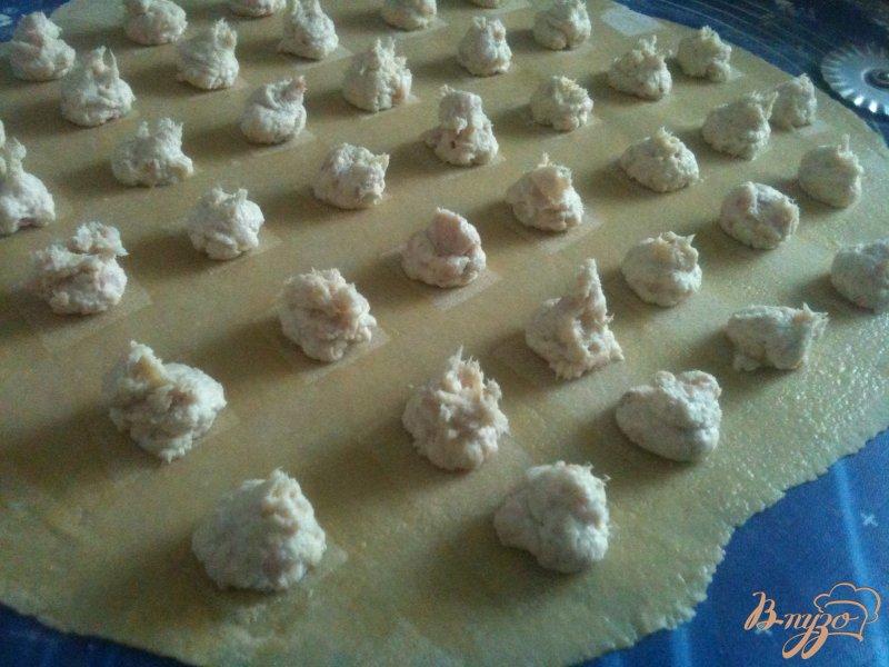 Фото приготовление рецепта: Равиоли с копченой рыбой и сыром шаг №4