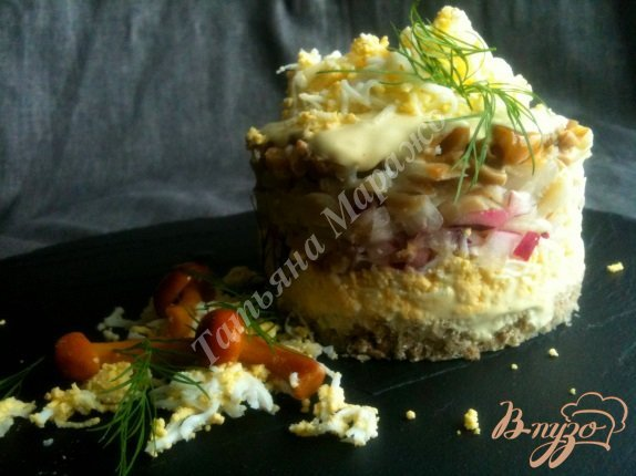 Рецепт Салат с отварной рыбой и грибами