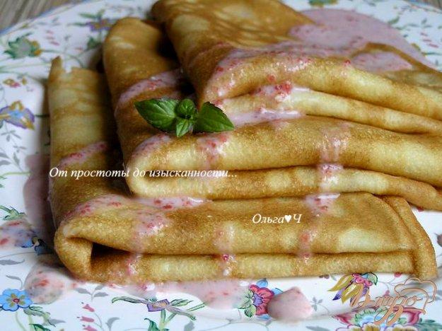 Рецепт Блинчики на кокосовых сливках с розовым соусом
