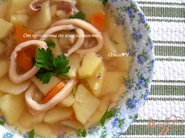 фото рецепта: Картофельный суп с кальмаром