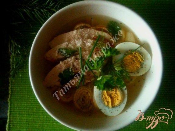 фото рецепта: Суп с блинной лапшой на курином бульоне