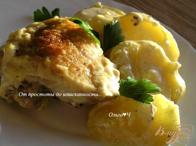 Рецепт Курица с картофелем в сливочно-горчичном соусе