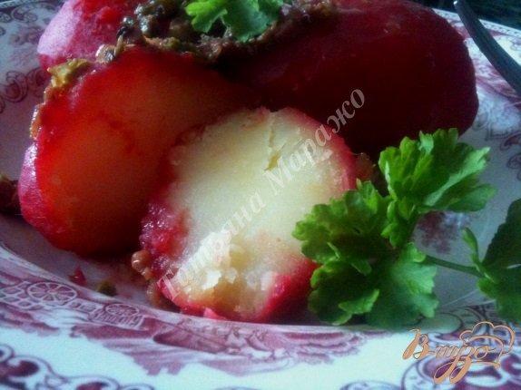фото рецепта: Отварной картофель с поджаркой из ветчины с каперсами