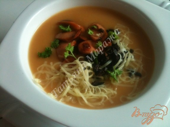 Рецепт Фасолевый суп-пюре с копчеными сосисками