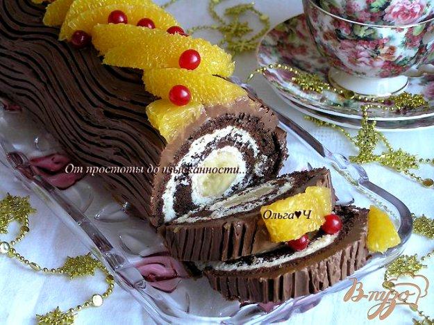 """Рецепт Шоколадно-творожный рулет """"Рождественское полено"""""""