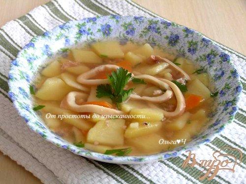 Картофельный суп с кальмаром