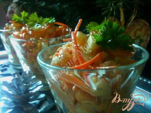 Салат с креветками и  белой спаржей