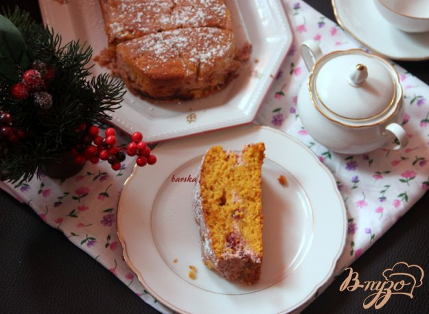 Рецепт Тыквенный кекс с творожно-брусничной прослойкой