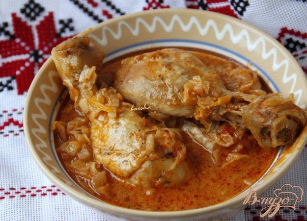 Рецепт Куриные голени с тушеной капустой