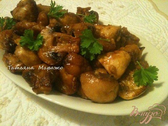 Рецепт Жареные грибы с каштанами (гарнир)