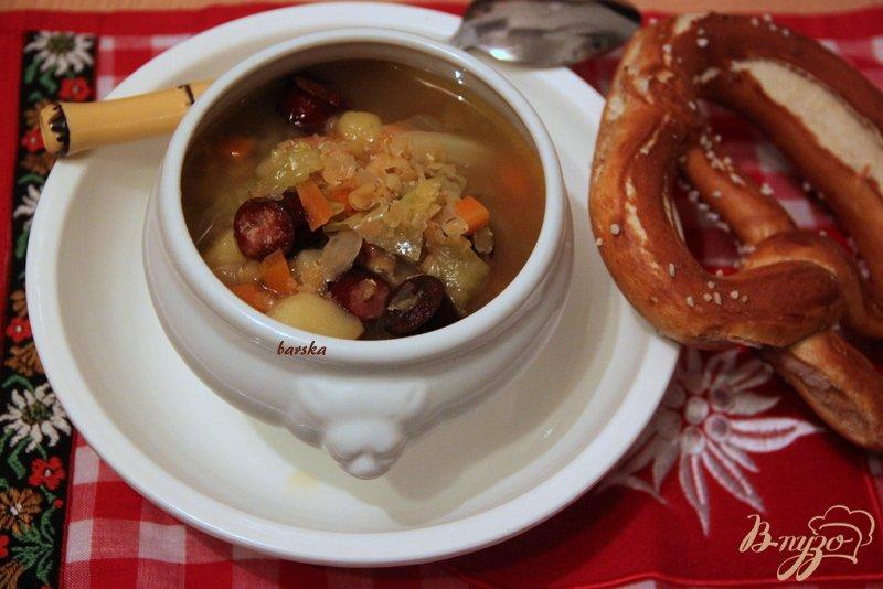Фото приготовление рецепта: Linseneintopf - густой суп с чечевицей шаг №6