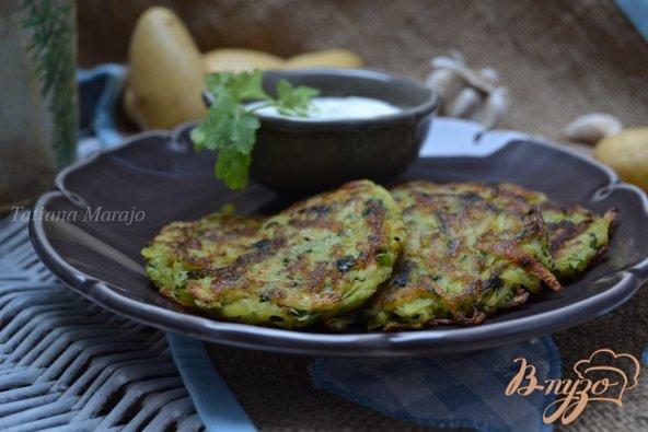 Рецепт Картофельно-шпинатные оладьи с яблоком