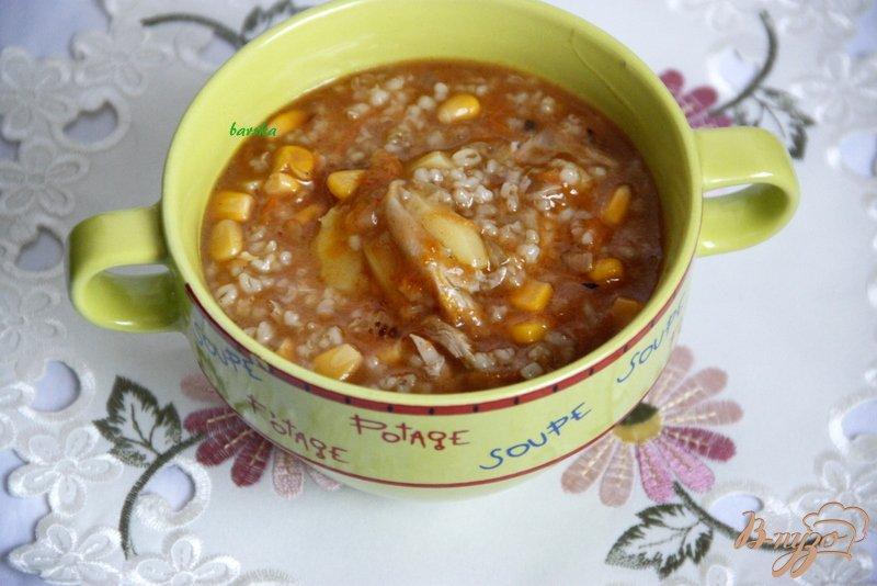 Фото приготовление рецепта: Густой суп с перловкой и кукурузой шаг №7
