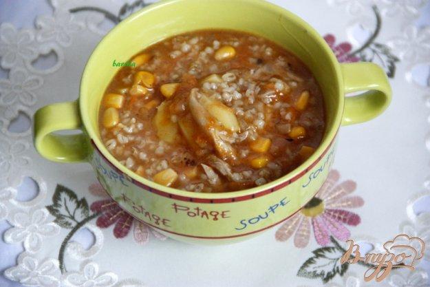 фото рецепта: Густой суп с перловкой и кукурузой
