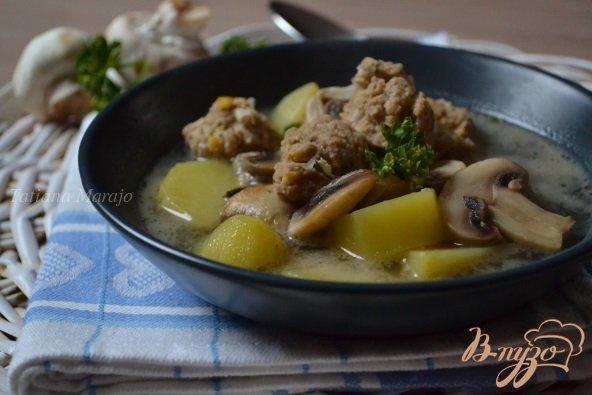 Фото приготовление рецепта: Грибной суп с фрикадельками из мяса и гороха нут шаг №8