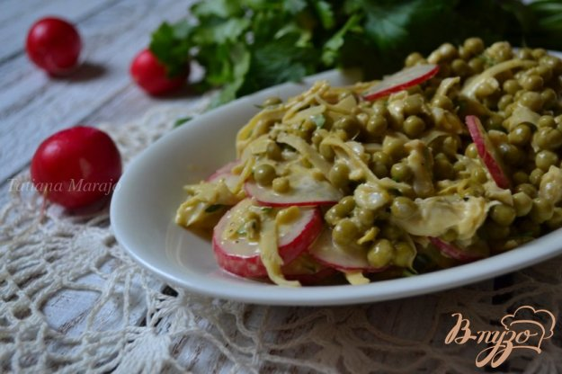 Рецепт Салат с зеленым горошком, редисом и артишоками