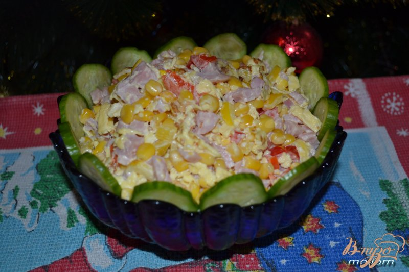 Фото приготовление рецепта: Салат с яичными блинчиками шаг №5