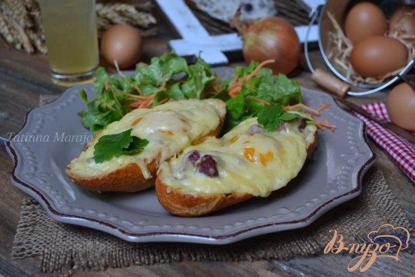 Рецепт Горячие бутерброды с утиными желудочками, яйцом и сыром