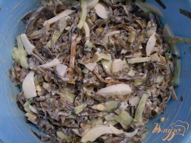 Фото приготовление рецепта: Салат из морской капусты, кальмара и огурца шаг №3