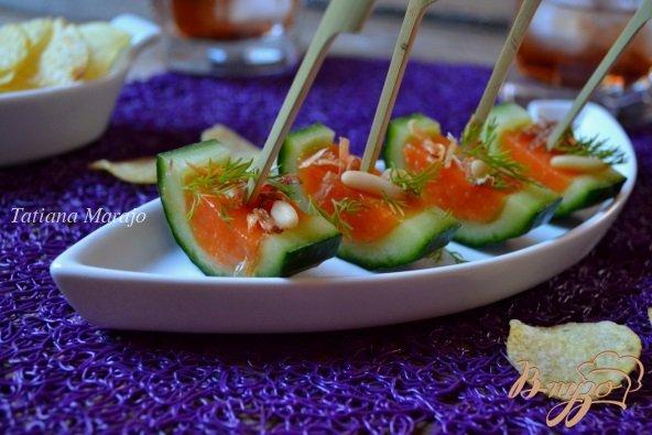 Рецепт Закуска из свежего огурца с томатным желе