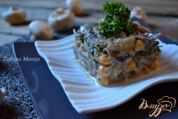 Рецепт Грибной салат с горохом нут