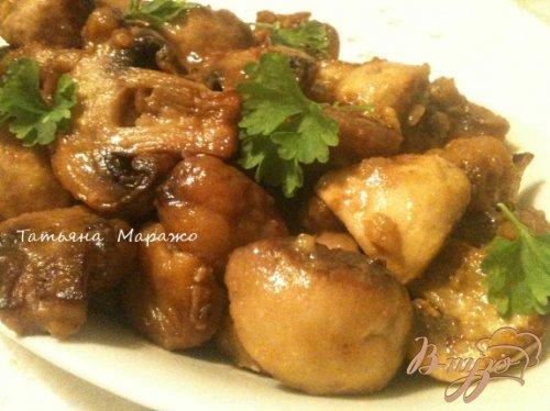 Жареные грибы с каштанами (гарнир)