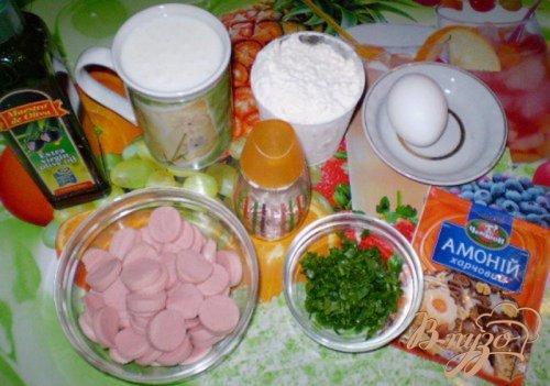 Оладьи с сосисками и зеленью