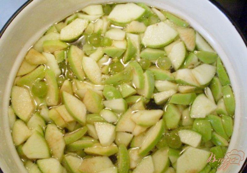 Фото приготовление рецепта: Компот из яблок, винограда с мятой и эхинацеей шаг №2