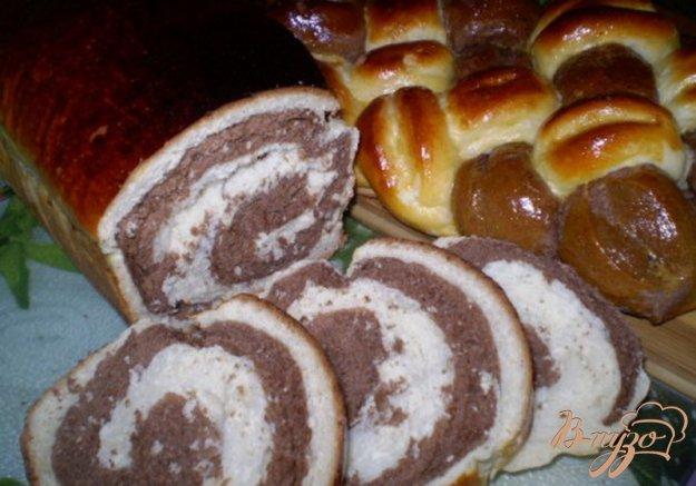 Рецепт Мраморный дрожжевой сладкий хлеб + косичка из 6 жгутов