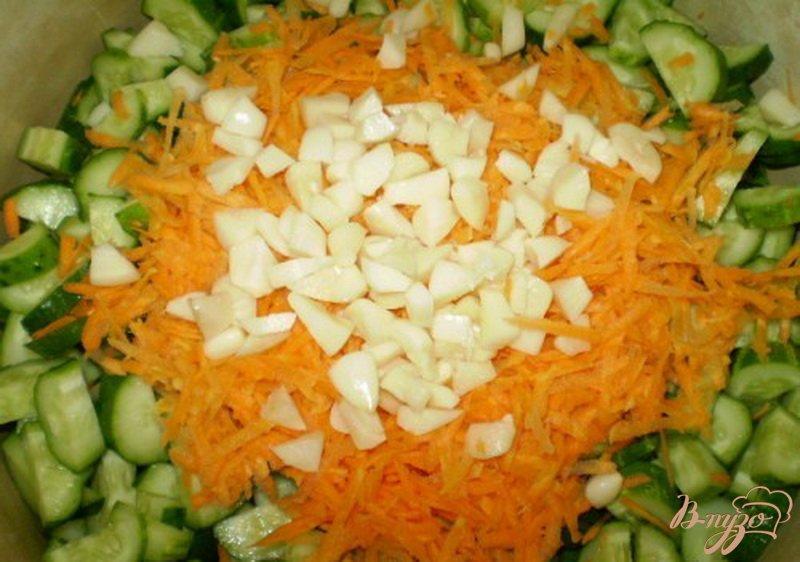 Фото приготовление рецепта: Огуречный салат с морковью и чесноком шаг №2