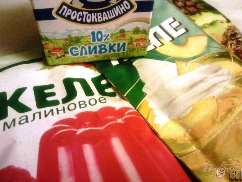 Фото приготовление рецепта: Десерт из сливок и фруктового желе шаг №1