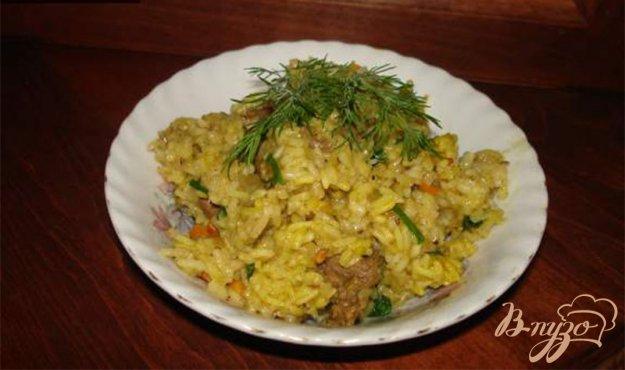 Рецепт Мясо с гарниром из риса, с черносливом и черемшой