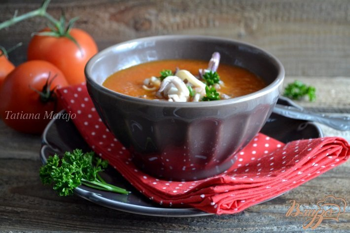 Фото приготовление рецепта: Овощной суп с морепродуктами шаг №5