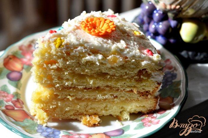 Фото приготовление рецепта: Апельсиновый кекс с начинкой и цитрусовыми цукатами шаг №9