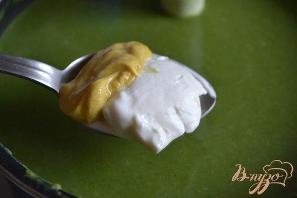 Фото приготовление рецепта: Горохово-шпинатный суп с горчицей шаг №4