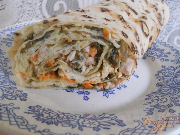 Рецепт Рулет из лаваша с морской капустой