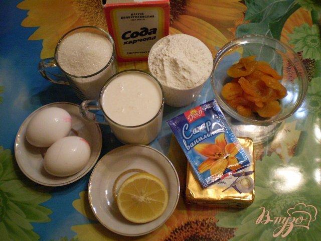 Фото приготовление рецепта: Лимонный пирог с кусочками кураги шаг №1