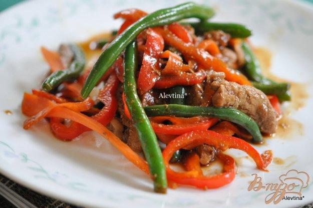 Рецепт Свинина стир-фрай с зеленой фасолью