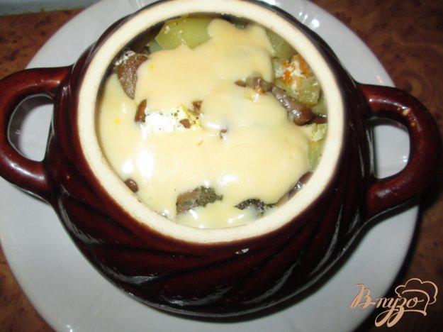 Рецепт Картошка тушеная с грибами и курицей в горшочке