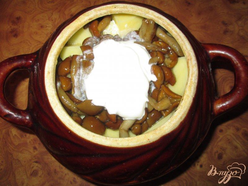Фото приготовление рецепта: Картошка тушеная с грибами и курицей в горшочке шаг №6