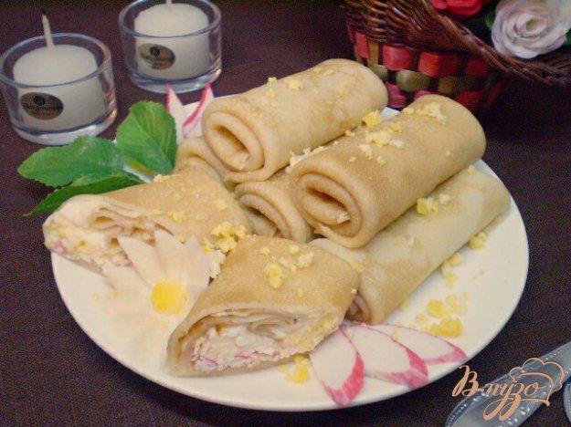 Рецепт Блины фаршированные крабовыми палочками и яйцом