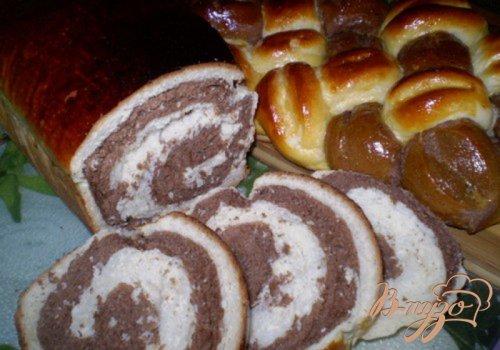 Мраморный дрожжевой сладкий хлеб + косичка из 6 жгутов
