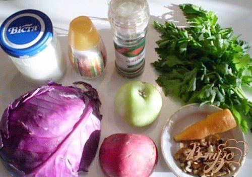 Салат из капусты с редькой и яблоком