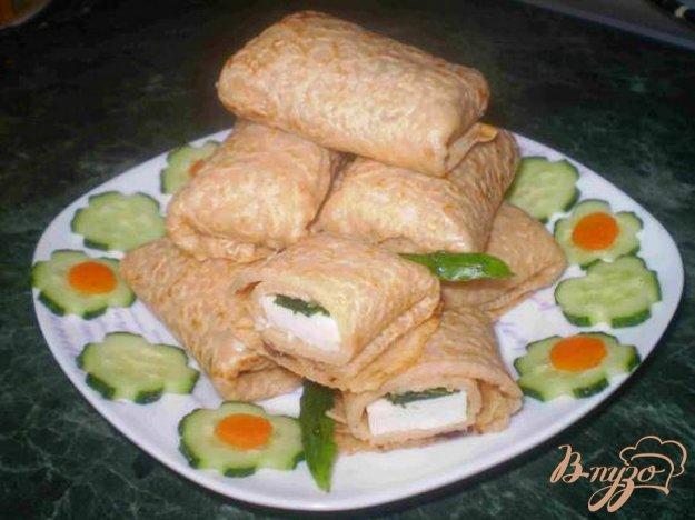 Рецепт Блины с сыром и соленым огурцом