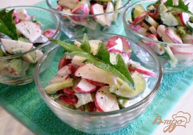 Рецепт Овощной салат с листьями одуванчика и сметаной