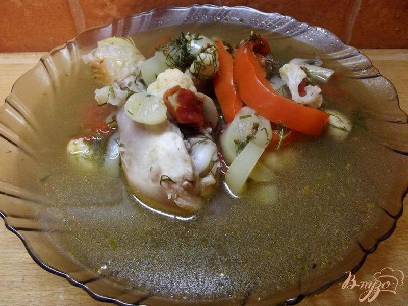 Фото приготовление рецепта: Грибной суп с курицей шаг №7