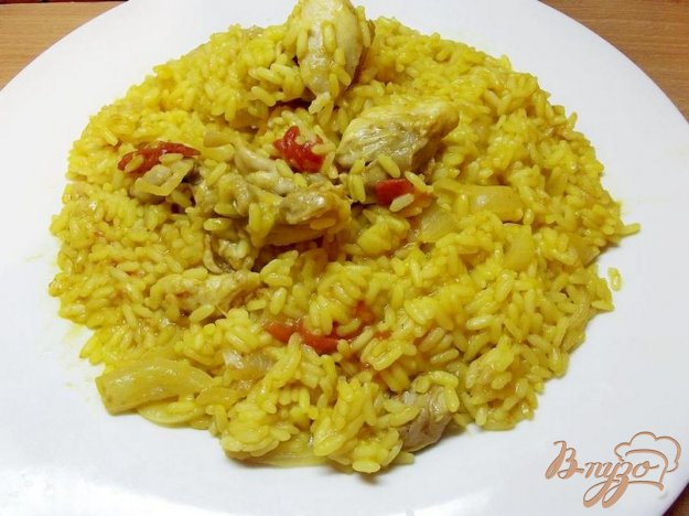 Рецепт Рис тушеный с курицей и овощами